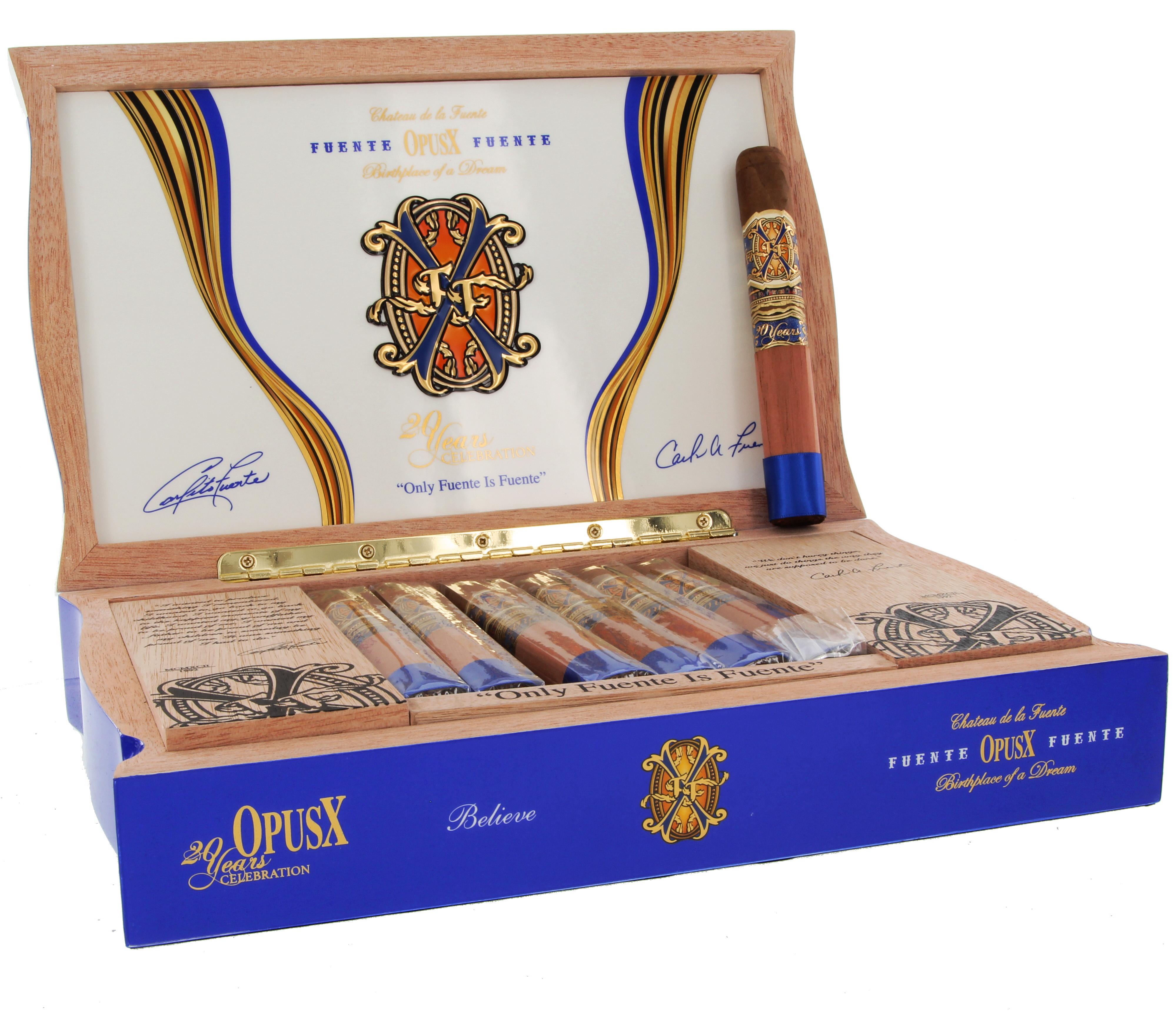 Arturo Fuente Fuente Opus X 20 Year Anniversary Believe Box Count 20 Blue Havana Cigar Shop
